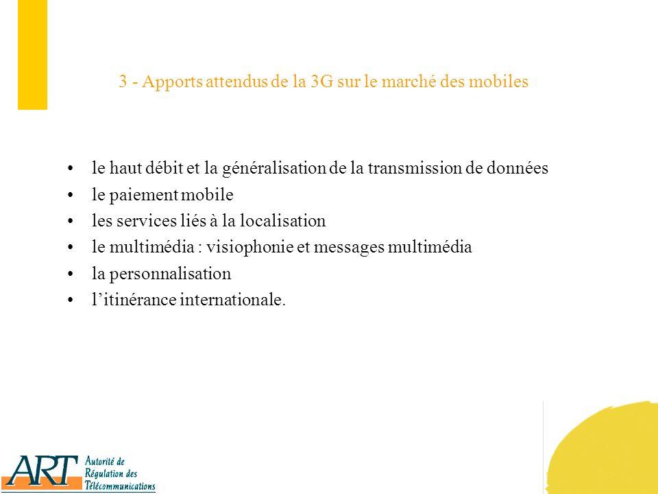 9 La préparation de l introduction de la 3G a été engagée au niveau mondial par lUIT (Union internationale des télécommunications) il y a 10 ans pour l horizon 2000, sous le nom générique « International Mobile Telecommunications 2000 » ou IMT 2000 ; le long cheminement de la normalisation dune interface radio montre limpossibilité dobtenir un accord sur une norme unique mondiale : la 3G est donc conçue comme une famille de normes (5 au total), appelée IMT 2000 ; l UMTS (Universal Mobile Telecommunications System) est, au sein de l IMT 2000, la norme 3G développée par les instances de normalisation et les industriels notamment européens, japonais, coréens et (pour partie) américains.