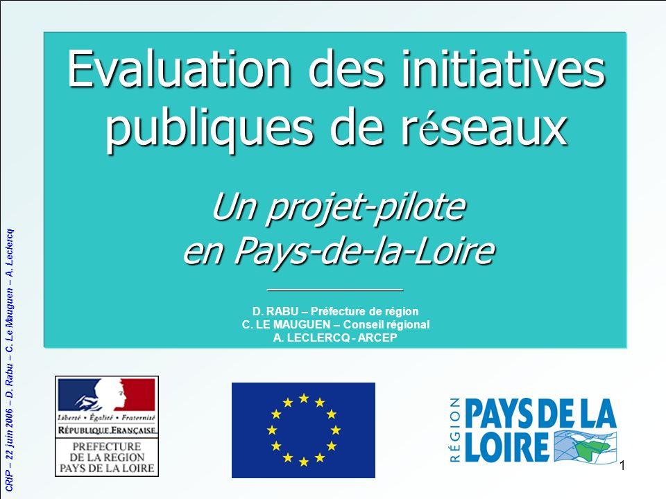 CRIP – 22 juin 2006 – D. Rabu – C. Le Mauguen – A. Leclercq 1 Evaluation des initiatives publiques de r é seaux Un projet-pilote en Pays-de-la-Loire _