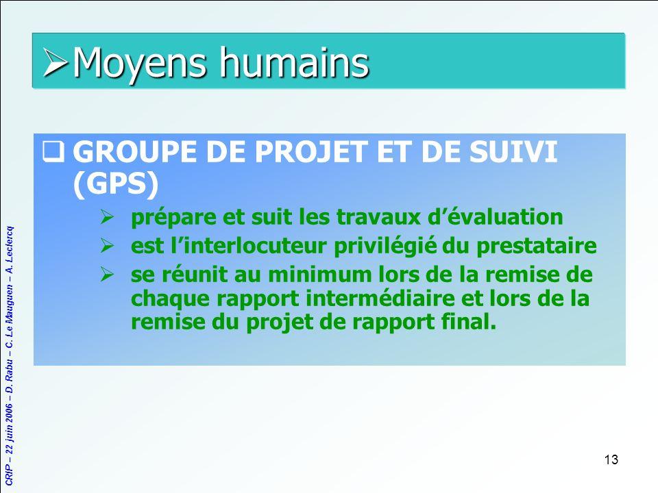 CRIP – 22 juin 2006 – D. Rabu – C. Le Mauguen – A. Leclercq 13 Moyens humains Moyens humains GROUPE DE PROJET ET DE SUIVI (GPS) prépare et suit les tr