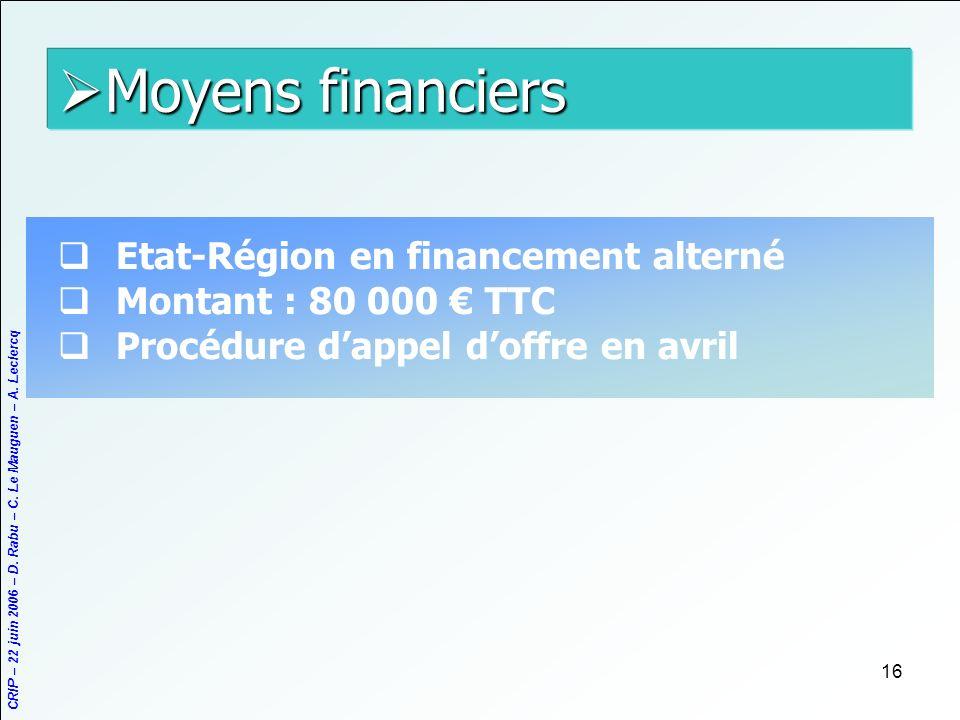 CRIP – 22 juin 2006 – D. Rabu – C. Le Mauguen – A. Leclercq 16 Moyens financiers Moyens financiers Etat-Région en financement alterné Montant : 80 000