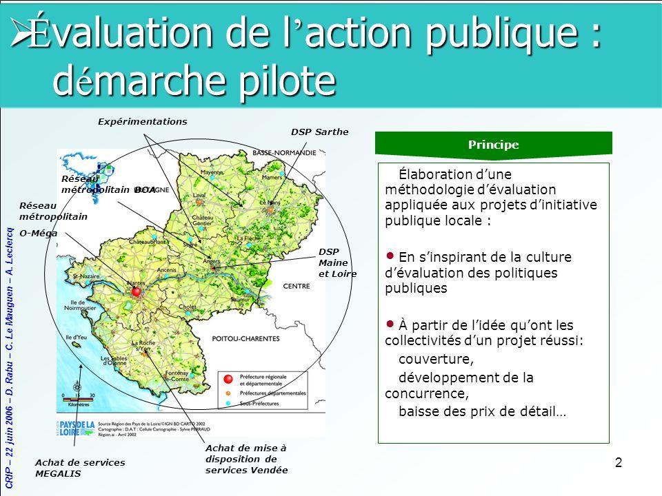 CRIP – 22 juin 2006 – D. Rabu – C. Le Mauguen – A. Leclercq 2 É valuation de l action publique : d é marche pilote É valuation de l action publique :