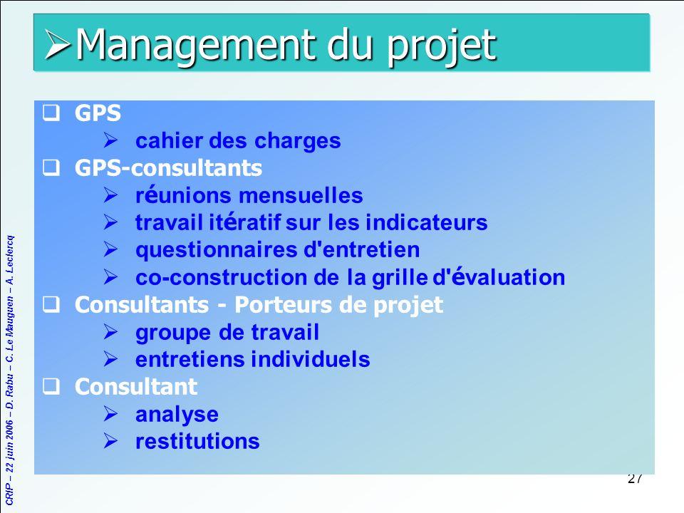 CRIP – 22 juin 2006 – D. Rabu – C. Le Mauguen – A. Leclercq 27 Management du projet Management du projet GPS cahier des charges GPS-consultants r é un