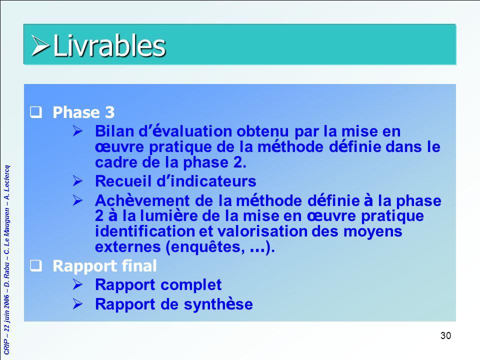 CRIP – 22 juin 2006 – D. Rabu – C. Le Mauguen – A. Leclercq 30 Livrables Livrables Phase 3 Bilan d é valuation obtenu par la mise en œ uvre pratique d