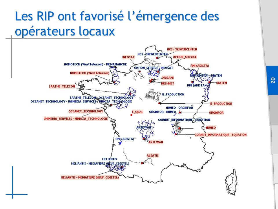 20 Les RIP ont favorisé lémergence des opérateurs locaux