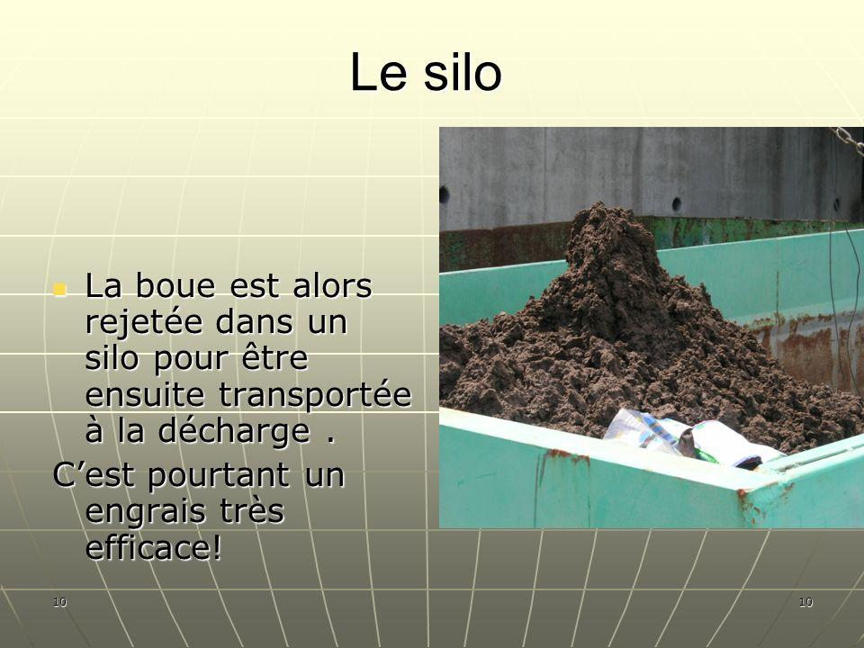 10 Le silo La boue est alors rejetée dans un silo pour être ensuite transportée à la décharge. La boue est alors rejetée dans un silo pour être ensuit