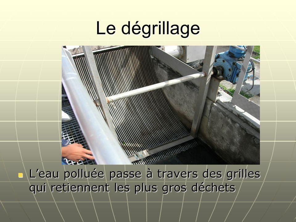 Le dégrillage Leau polluée passe à travers des grilles qui retiennent les plus gros déchets Leau polluée passe à travers des grilles qui retiennent le