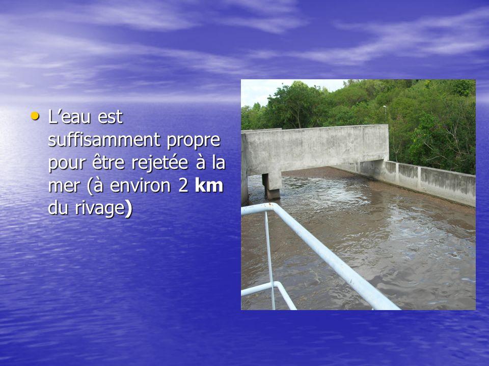 Leau est suffisamment propre pour être rejetée à la mer (à environ 2 km du rivage) Leau est suffisamment propre pour être rejetée à la mer (à environ