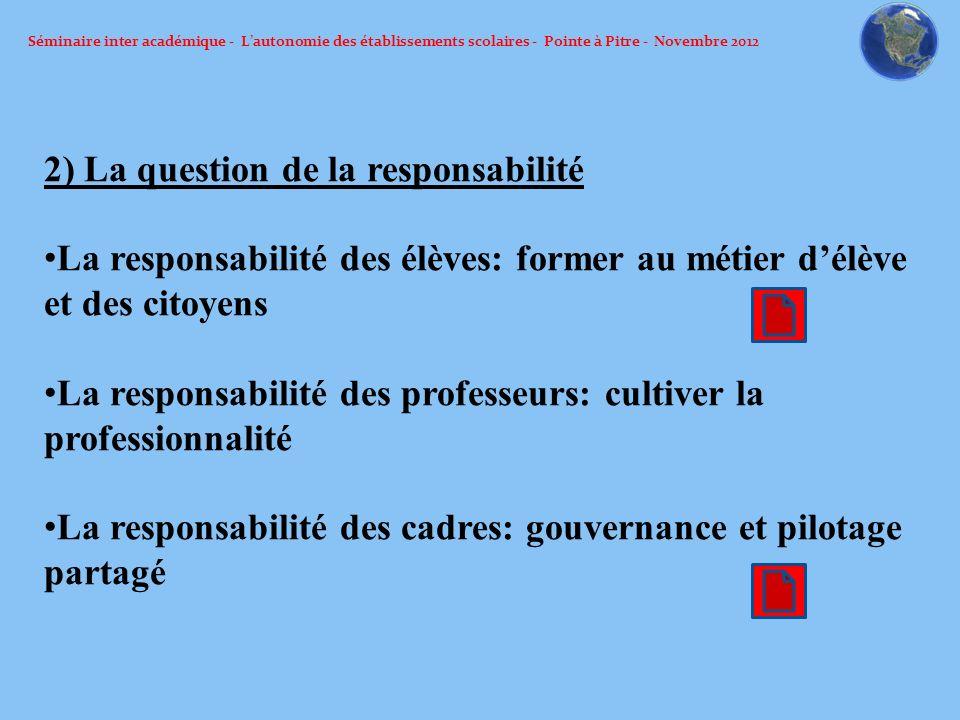 Séminaire inter académique - Lautonomie des établissements scolaires - Pointe à Pitre - Novembre 2012 2) La question de la responsabilité La responsab