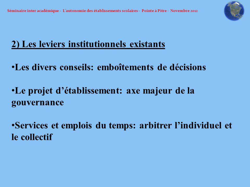 Séminaire inter académique - Lautonomie des établissements scolaires - Pointe à Pitre - Novembre 2012 2) Les leviers institutionnels existants Les div