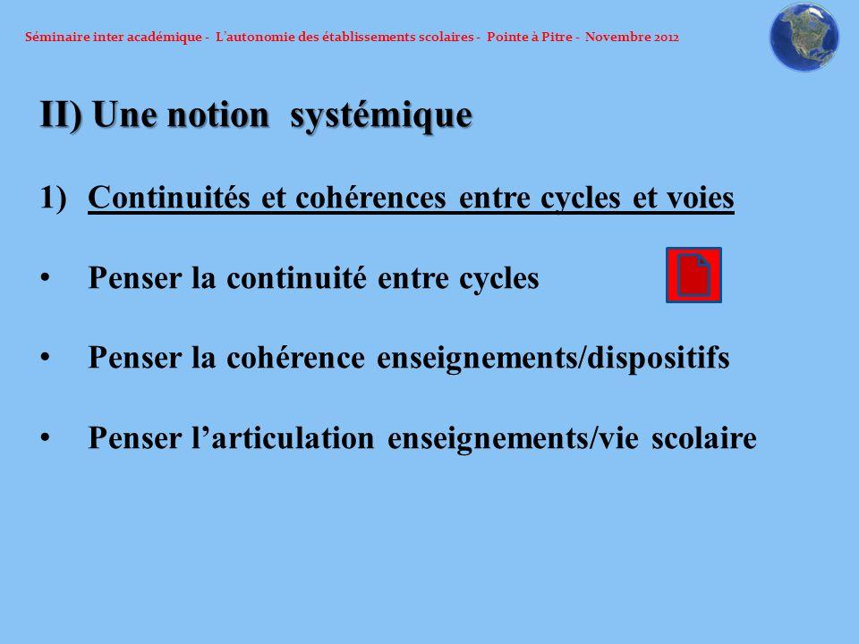 Séminaire inter académique - Lautonomie des établissements scolaires - Pointe à Pitre - Novembre 2012 II) Une notion systémique 1)Continuités et cohér