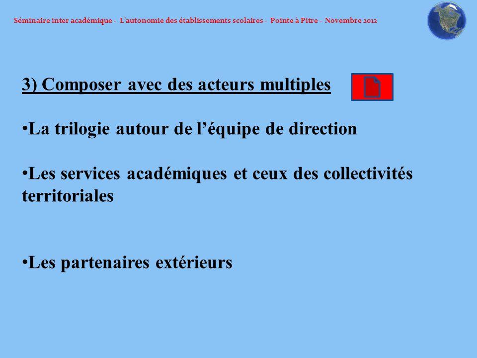 Séminaire inter académique - Lautonomie des établissements scolaires - Pointe à Pitre - Novembre 2012 3) Composer avec des acteurs multiples La trilog