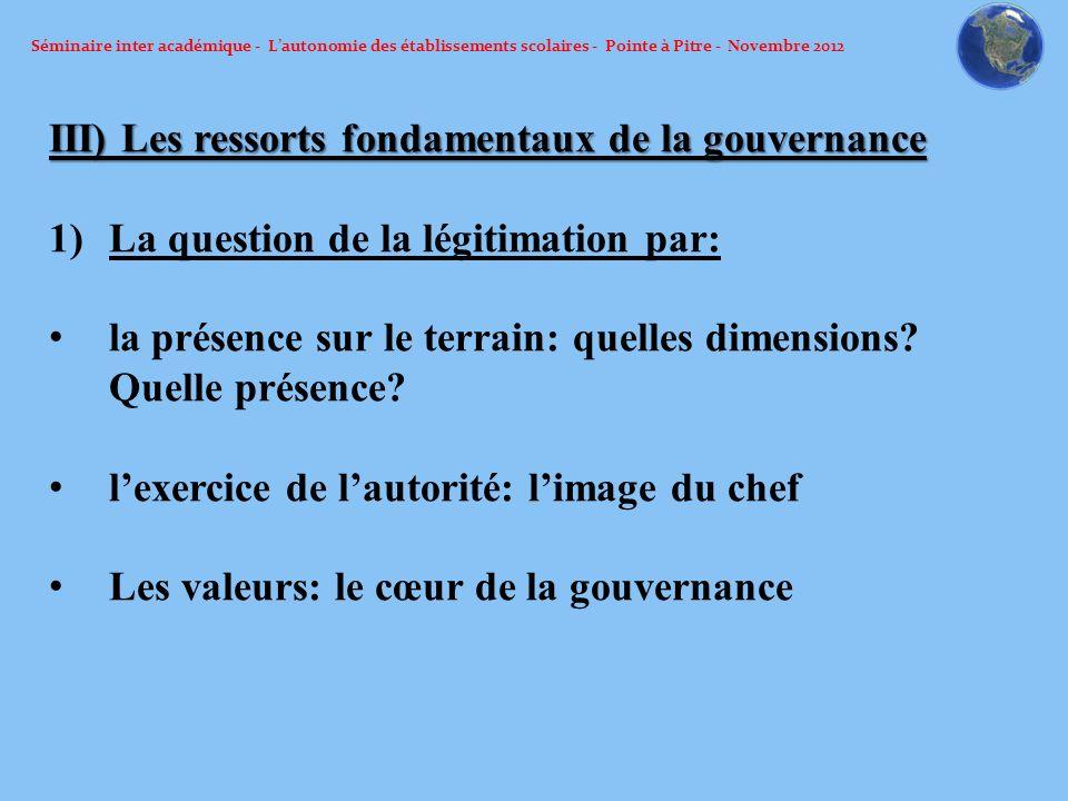 Séminaire inter académique - Lautonomie des établissements scolaires - Pointe à Pitre - Novembre 2012 III) Les ressorts fondamentaux de la gouvernance