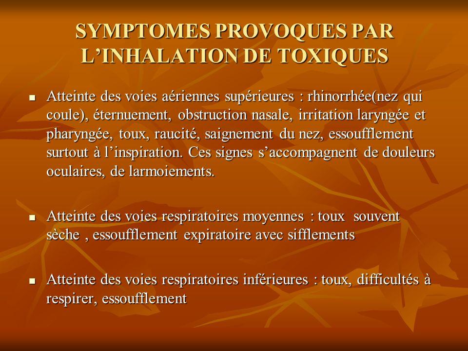 SYMPTOMES PROVOQUES PAR LINHALATION DE TOXIQUES Atteinte des voies aériennes supérieures : rhinorrhée(nez qui coule), éternuement, obstruction nasale,