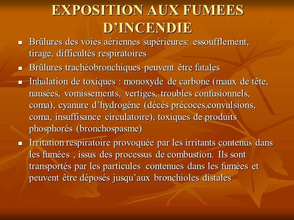 EXPOSITION AUX FUMEES DINCENDIE Brûlures des voies aériennes supérieures: essoufflement, tirage, difficultés respiratoires Brûlures des voies aérienne
