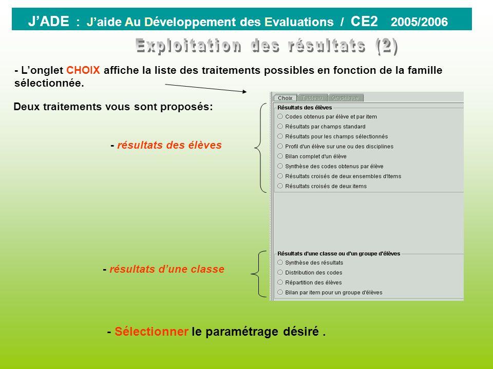0 JADE : Jaide Au Développement des Evaluations / CE2 2005/2006 Cliquer sur le bouton « EXPLOITATION » La fenêtre qui saffiche se divise en deux parti