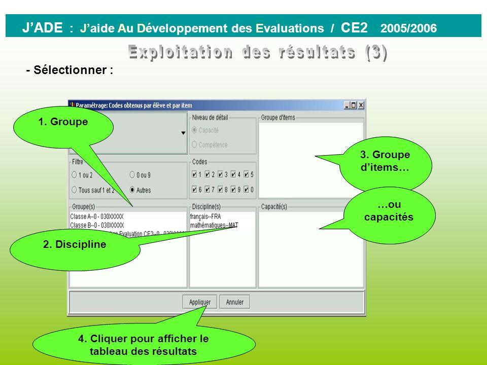 - résultats des élèves - Longlet CHOIX affiche la liste des traitements possibles en fonction de la famille sélectionnée. 0 JADE : Jaide Au Développem