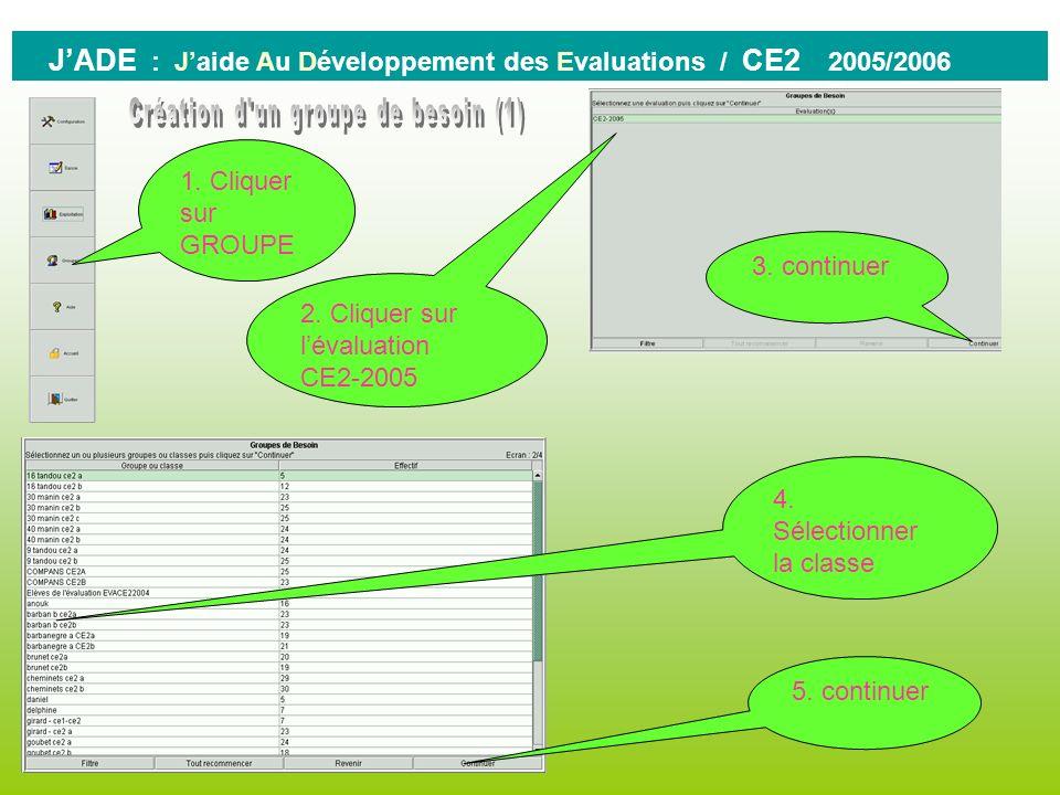 0 JADE : Jaide Au Développement des Evaluations / CE2 2005/2006 Vous pouvez : - Imprimer les résultats affichés - Rouvrir la fenêtre de paramétrages p
