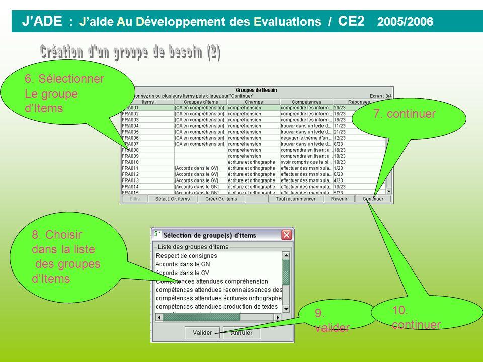 0 JADE : Jaide Au Développement des Evaluations / CE2 2005/2006 1. Cliquer sur GROUPE 2. Cliquer sur lévaluation CE2-2005 3. continuer 4. Sélectionner