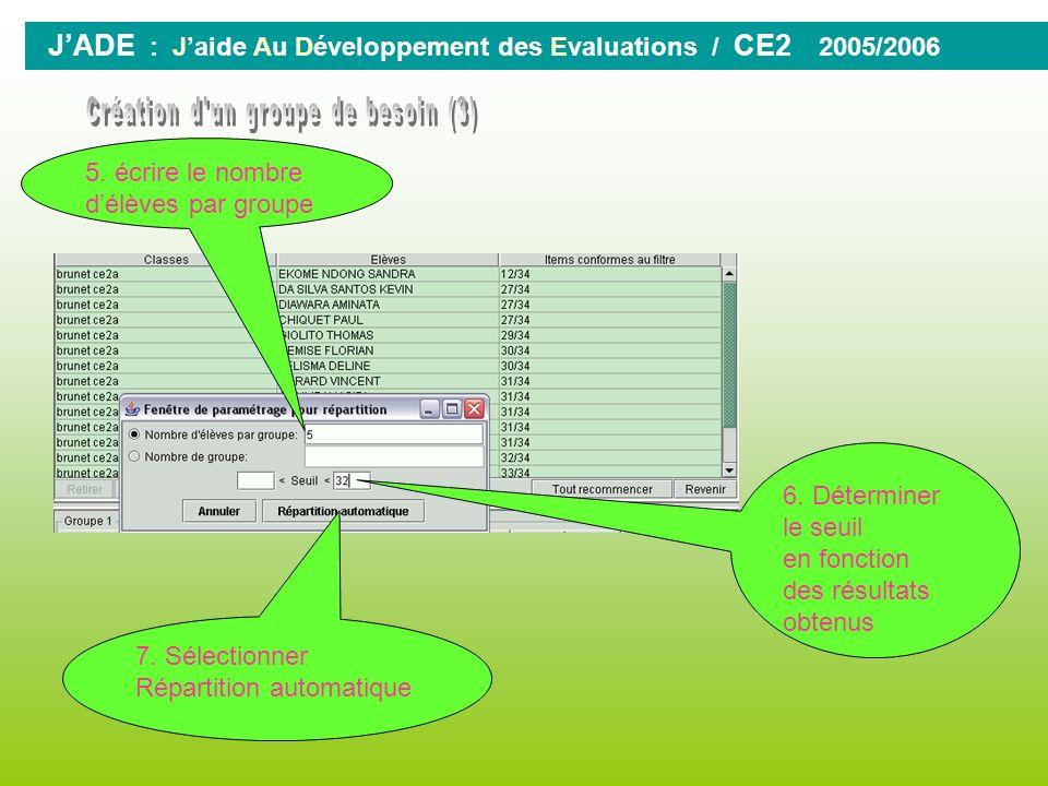JADE : Jaide Au Développement des Evaluations / CE2 2005/2006 6. Sélectionner Le groupe dItems 8. Choisir dans la liste des groupes dItems 7. continue