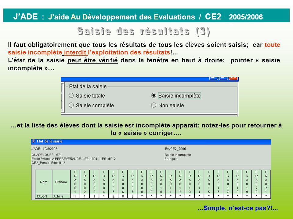 0 JADE : Jaide Au Développement des Evaluations / CE2 2005/2006 ATTENTION : le A correspond aux codages des absents à la séquence entière. La saisie p