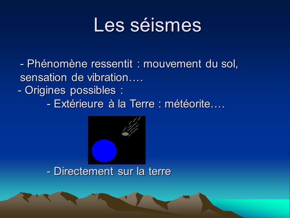 Les séismes - Phénomène ressentit : mouvement du sol, sensation de vibration…. - Origines possibles : - Extérieure à la Terre : météorite…. - Directem