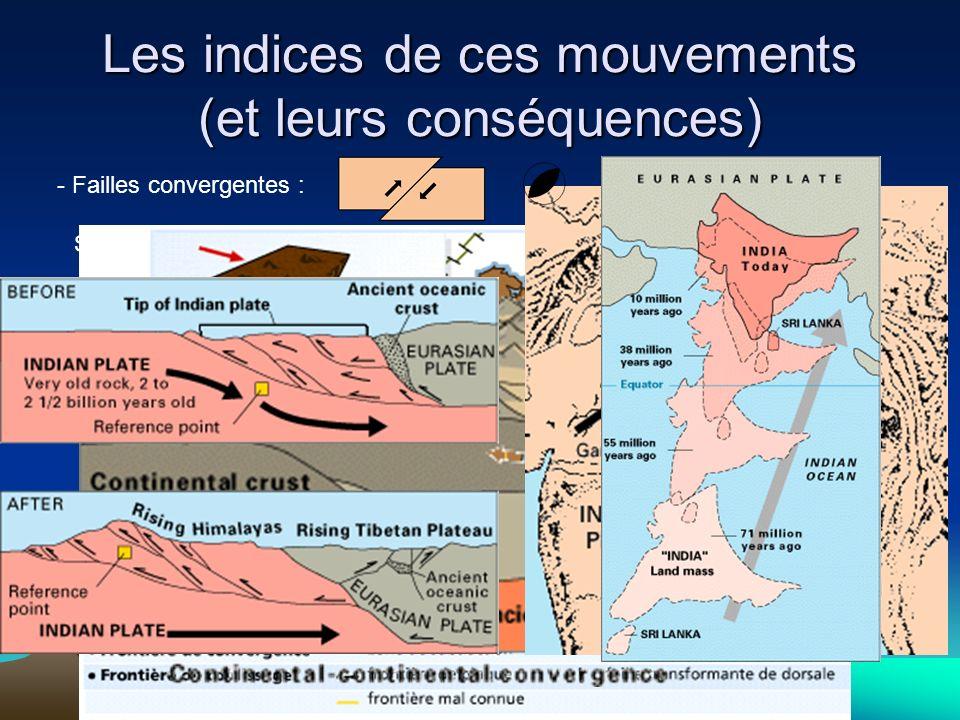 Les indices de ces mouvements (et leurs conséquences) - Failles convergentes : Si les 2 plaques sont continentales : Chaînes de montagne (Himalaya, Al