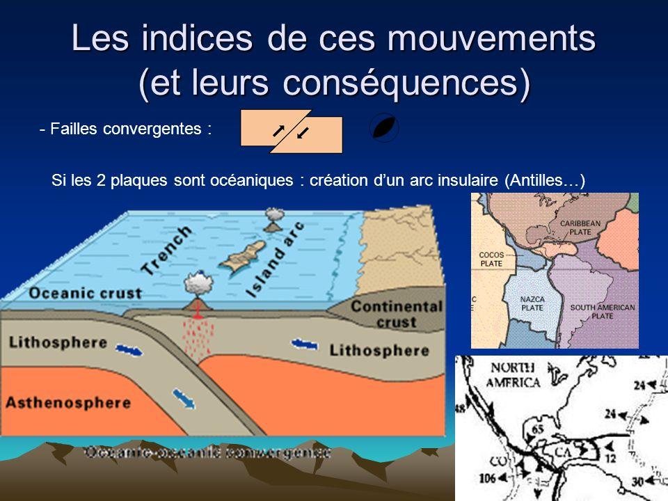 Les indices de ces mouvements (et leurs conséquences) - Failles convergentes : Si les 2 plaques sont océaniques : création dun arc insulaire (Antilles