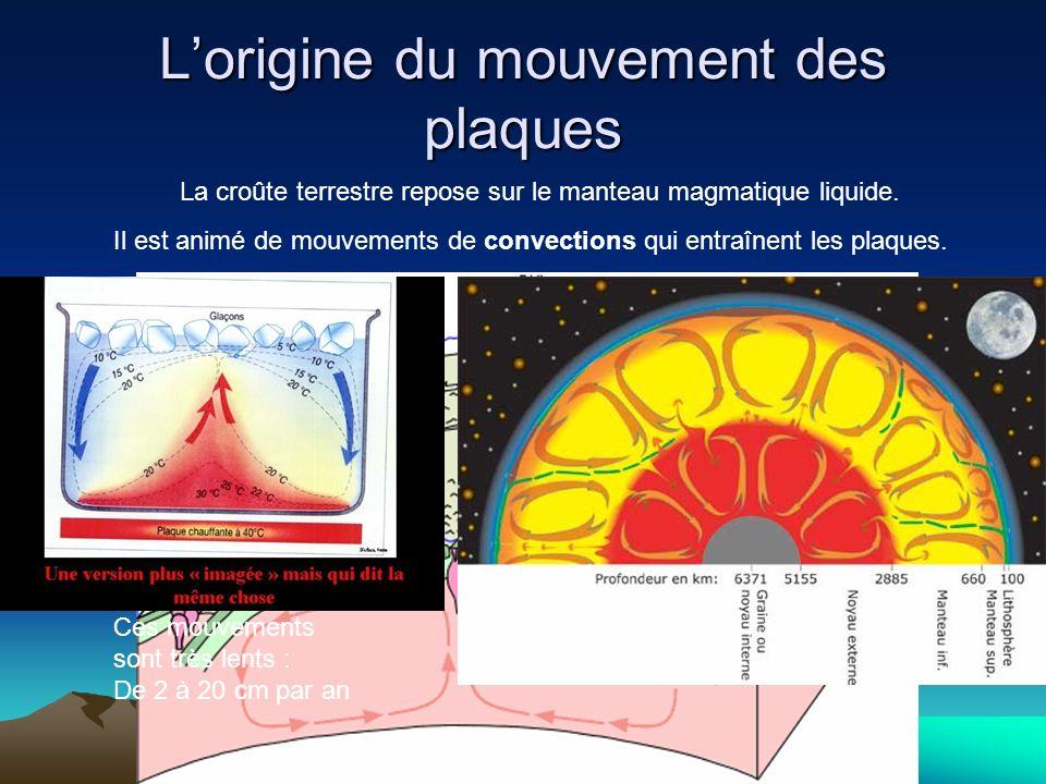 Lorigine du mouvement des plaques La croûte terrestre repose sur le manteau magmatique liquide. Il est animé de mouvements de convections qui entraîne