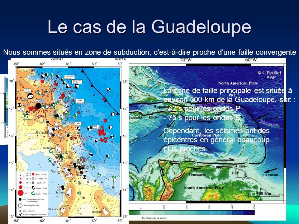 Le cas de la Guadeloupe Nous sommes situés en zone de subduction, cest-à-dire proche dune faille convergente La zone de faille principale est située à