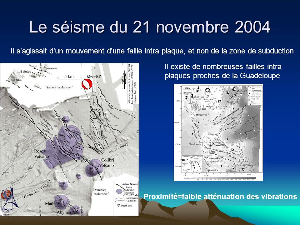 Le séisme du 21 novembre 2004 Il sagissait dun mouvement dune faille intra plaque, et non de la zone de subduction Il existe de nombreuses failles int