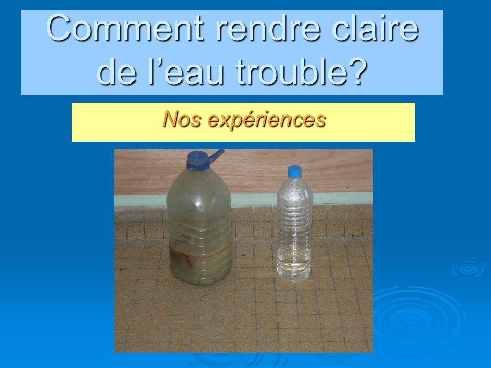 conclusion Parmi tous les échantillons que nous avions donnés, leau additionnée de quelques gouttes de Javel était la plus propre, leau minérale et leau du robinet étaient équivalente du point de vue microbiologique.