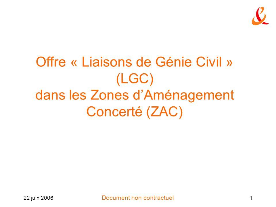 Document non contractuel 22 juin 20061 Offre « Liaisons de Génie Civil » (LGC) dans les Zones dAménagement Concerté (ZAC)