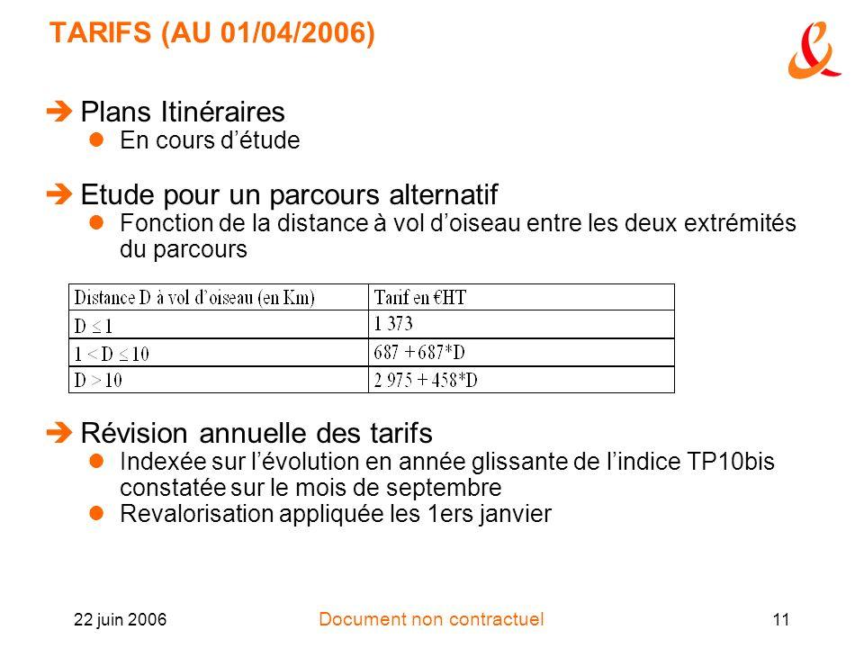 Document non contractuel 22 juin 200611 TARIFS (AU 01/04/2006) Plans Itinéraires En cours détude Etude pour un parcours alternatif Fonction de la dist