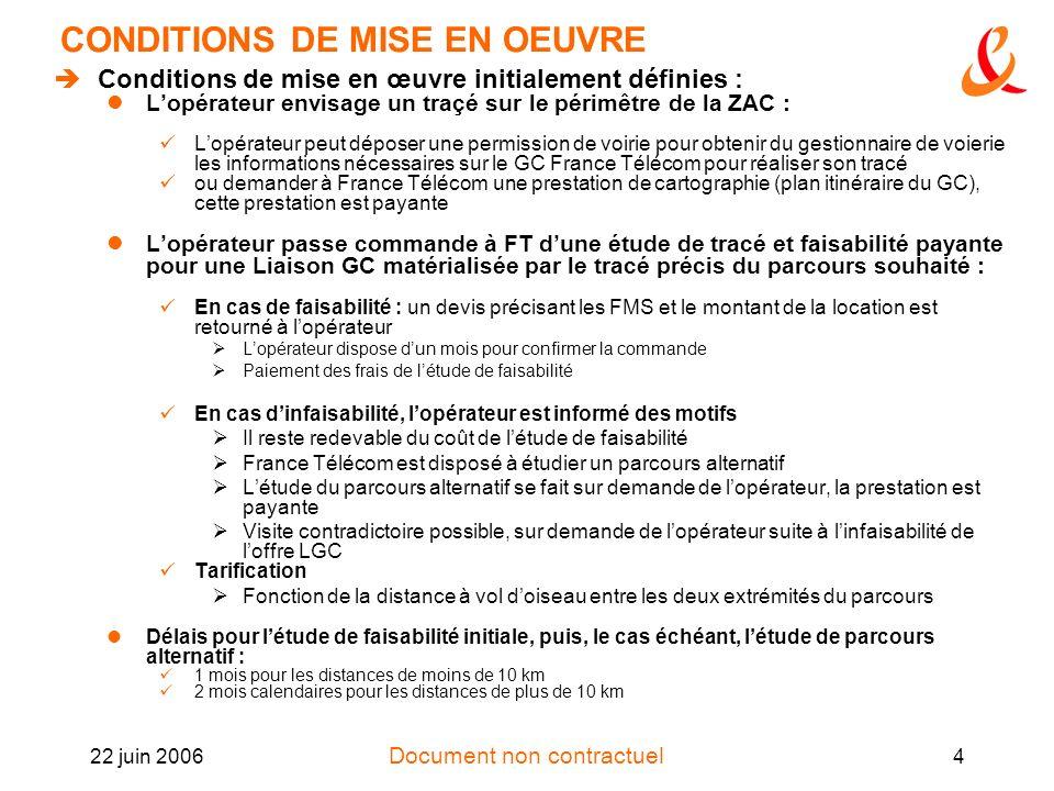 Document non contractuel 22 juin 20064 CONDITIONS DE MISE EN OEUVRE Conditions de mise en œuvre initialement définies : Lopérateur envisage un traçé s
