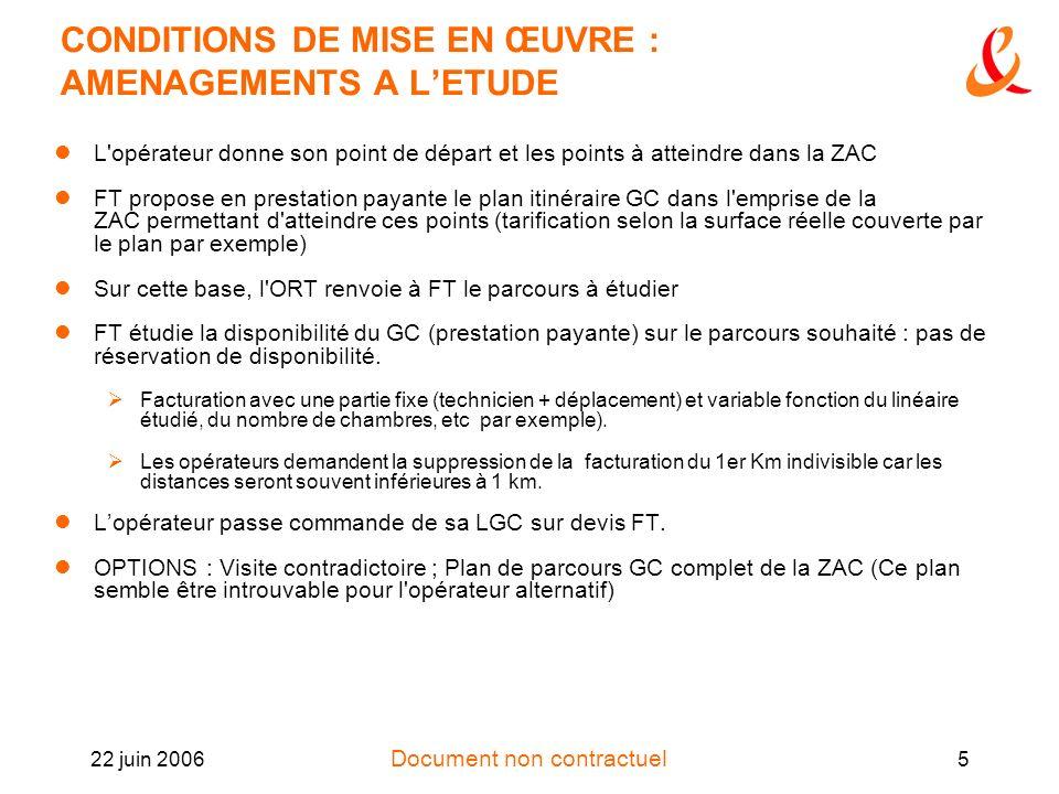 Document non contractuel 22 juin 20065 CONDITIONS DE MISE EN ŒUVRE : AMENAGEMENTS A LETUDE L'opérateur donne son point de départ et les points à attei