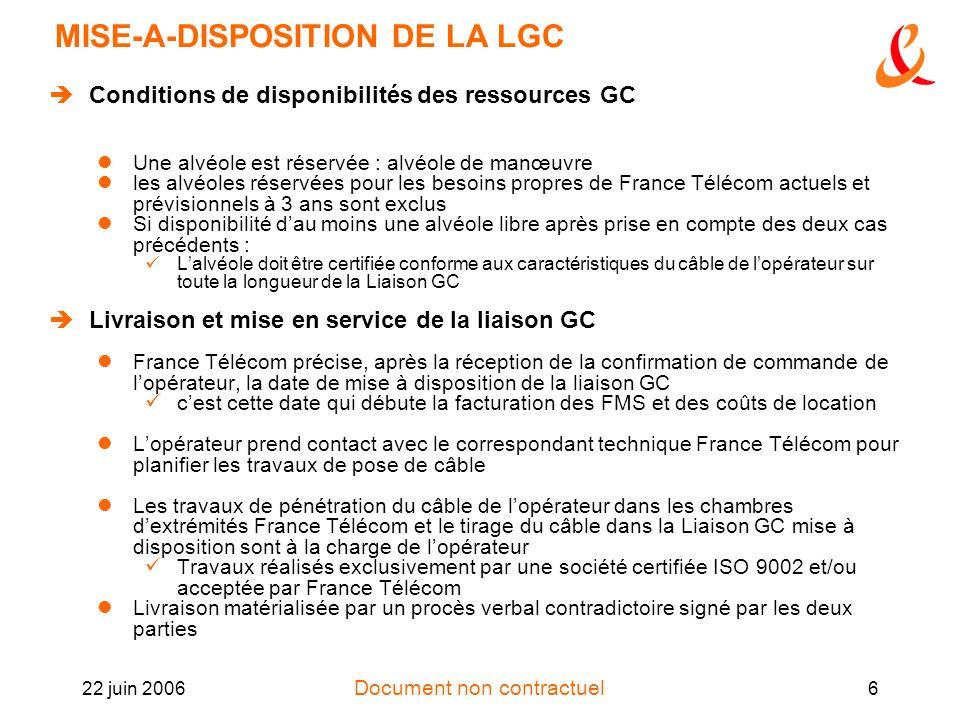 Document non contractuel 22 juin 20066 MISE-A-DISPOSITION DE LA LGC Conditions de disponibilités des ressources GC Une alvéole est réservée : alvéole
