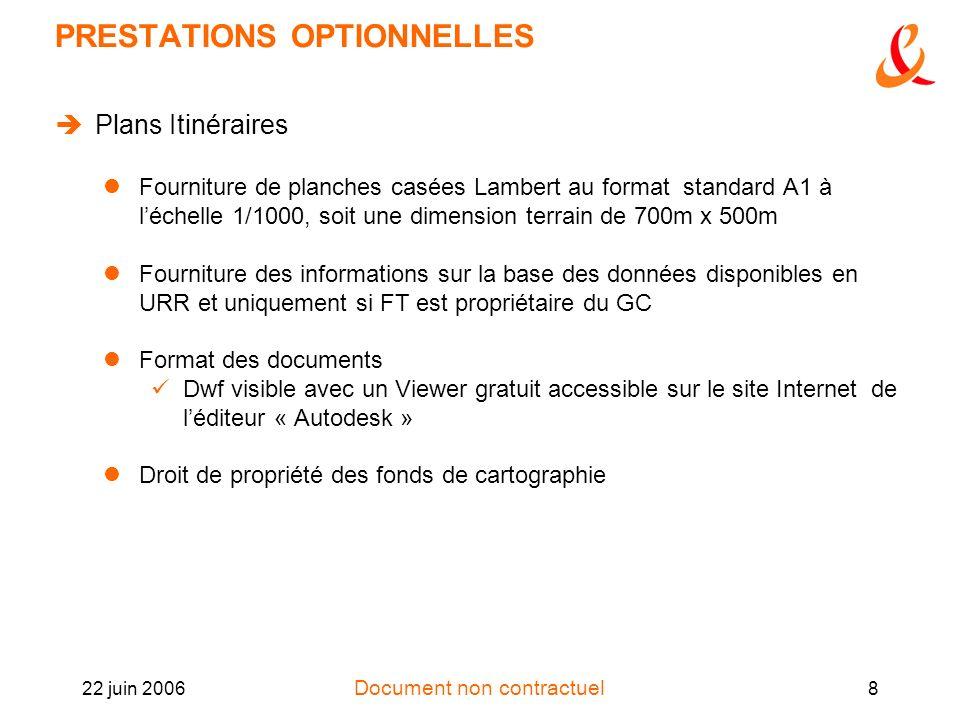 Document non contractuel 22 juin 20068 PRESTATIONS OPTIONNELLES Plans Itinéraires Fourniture de planches casées Lambert au format standard A1 à léchel