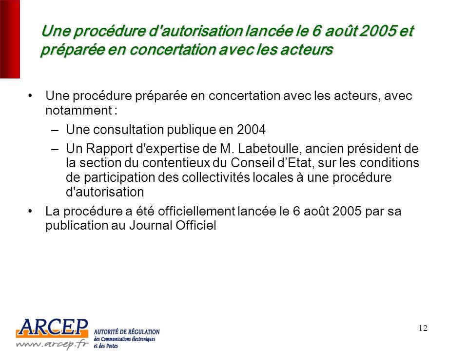 11 2. Une procédure d'appels à candidatures qui vise à favoriser le déploiement rapide de la BLR et du Wimax sur le territoire