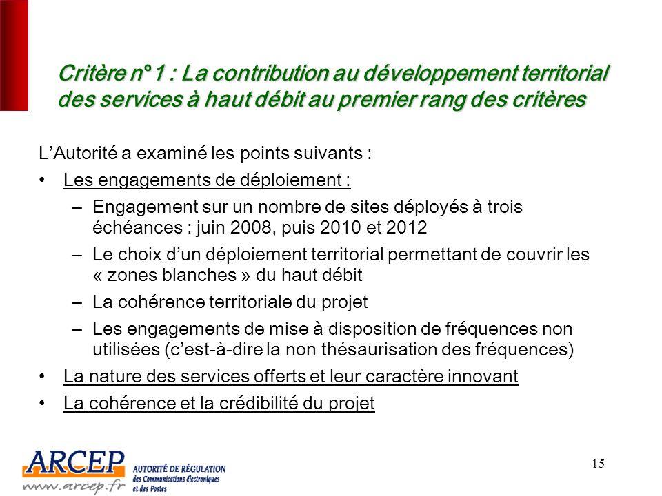 14 La sélection a été conduite sur la base des trois critères de sélection prévus par l'appel à candidatures CritèrePondération Contribution au dévelo