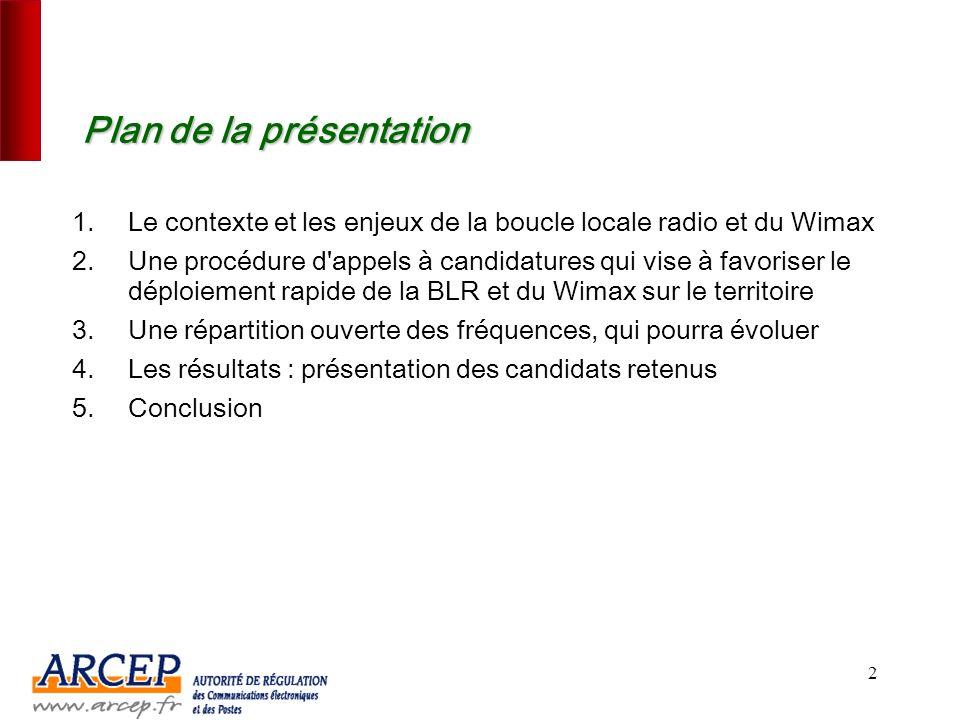 Boucle locale radio – Wimax Les résultats des appels à candidatures 7 juillet 2006