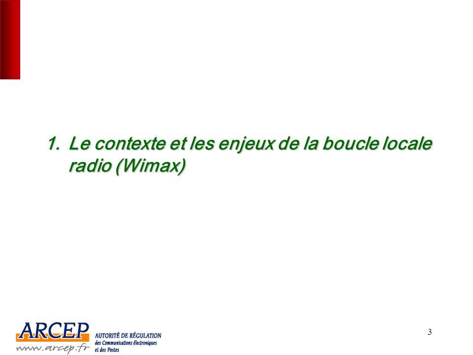 2 Plan de la présentation 1.Le contexte et les enjeux de la boucle locale radio et du Wimax 2.Une procédure d'appels à candidatures qui vise à favoris