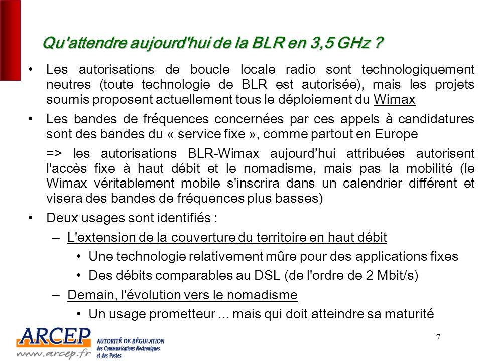 6... un nouvel engouement depuis 2005 pour la nouvelle génération de BLR dans la bande 3,5 GHz Trois causes principales : – Un facteur déterminant : l