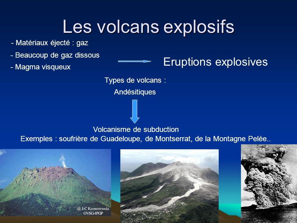 Les volcans explosifs - Beaucoup de gaz dissous - Magma visqueux Eruptions explosives Types de volcans : Andésitiques Volcanisme de subduction Exemple