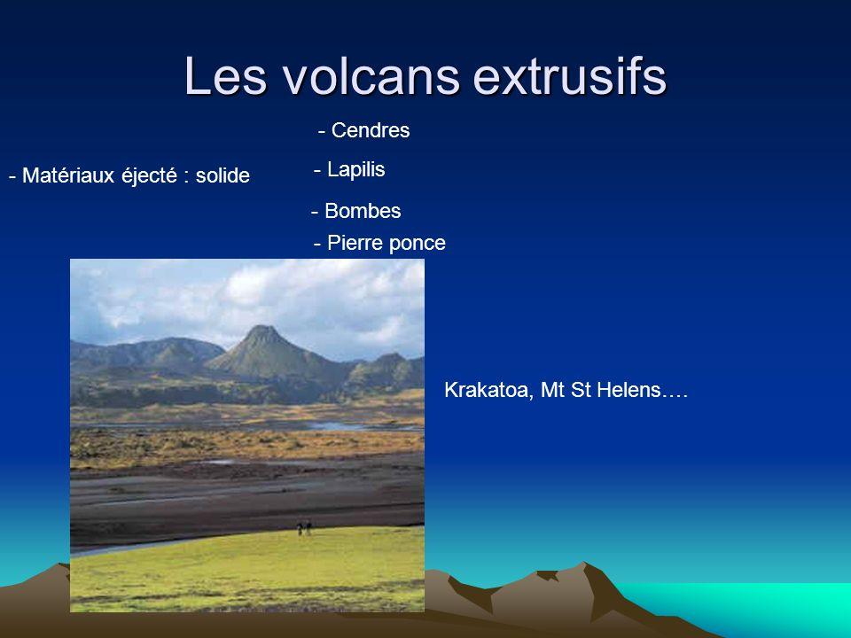 Les volcans extrusifs - Matériaux éjecté : solide - Cendres - Lapilis - Bombes - Pierre ponce Krakatoa, Mt St Helens….