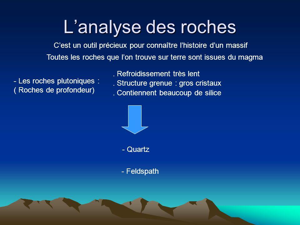 Lanalyse des roches Cest un outil précieux pour connaître lhistoire dun massif - Les roches plutoniques : ( Roches de profondeur). Refroidissement trè