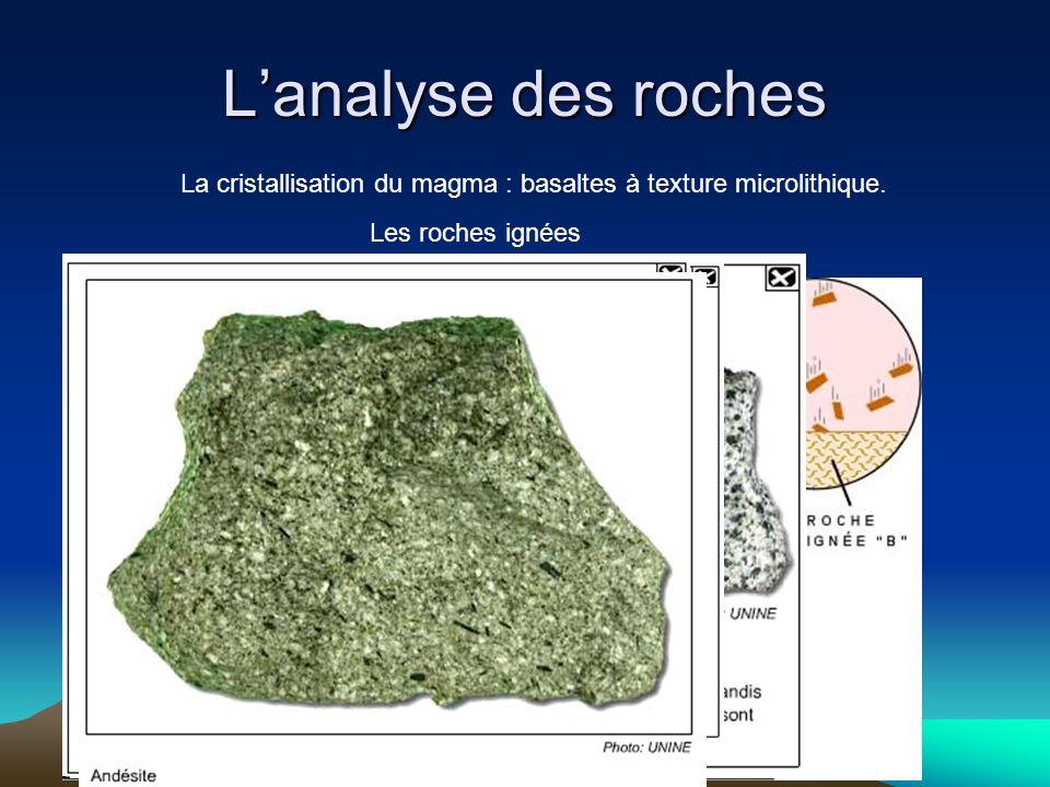 Lanalyse des roches La cristallisation du magma : basaltes à texture microlithique. Les roches ignées