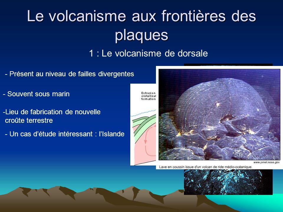 Le volcanisme aux frontières des plaques 1 : Le volcanisme de dorsale - Présent au niveau de failles divergentes - Souvent sous marin -Lieu de fabrica