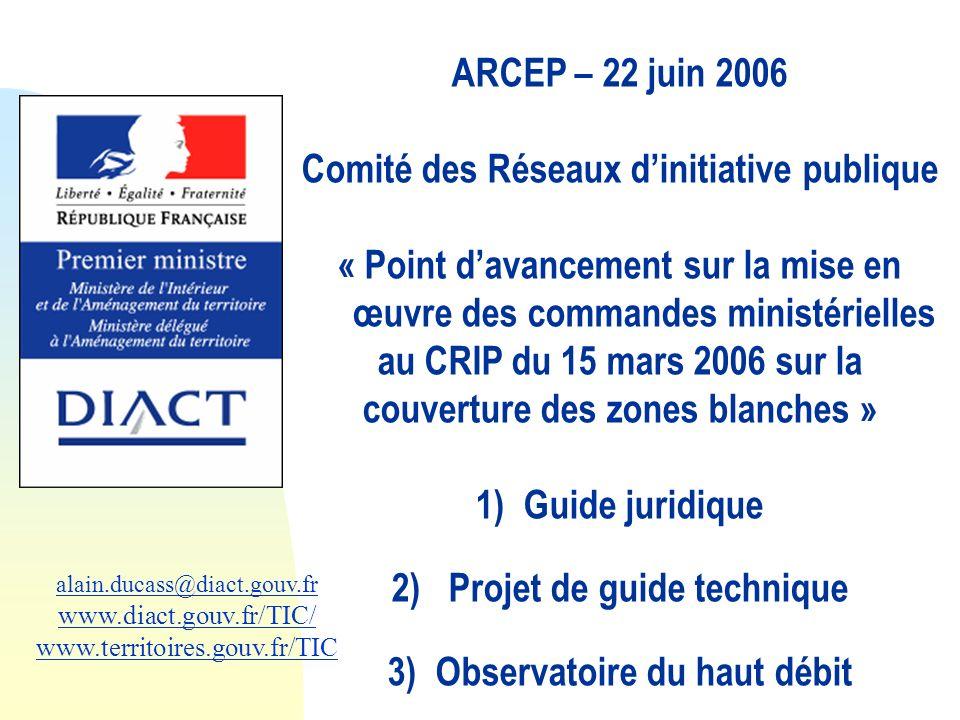 alain.ducass@diact.gouv.fr www.diact.gouv.fr/TIC/ www.territoires.gouv.fr/TIC ARCEP – 22 juin 2006 Comité des Réseaux dinitiative publique « Point dav