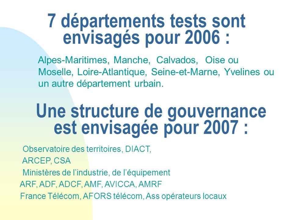 7 départements tests sont envisagés pour 2006 : Alpes-Maritimes, Manche, Calvados, Oise ou Moselle, Loire-Atlantique, Seine-et-Marne, Yvelines ou un a