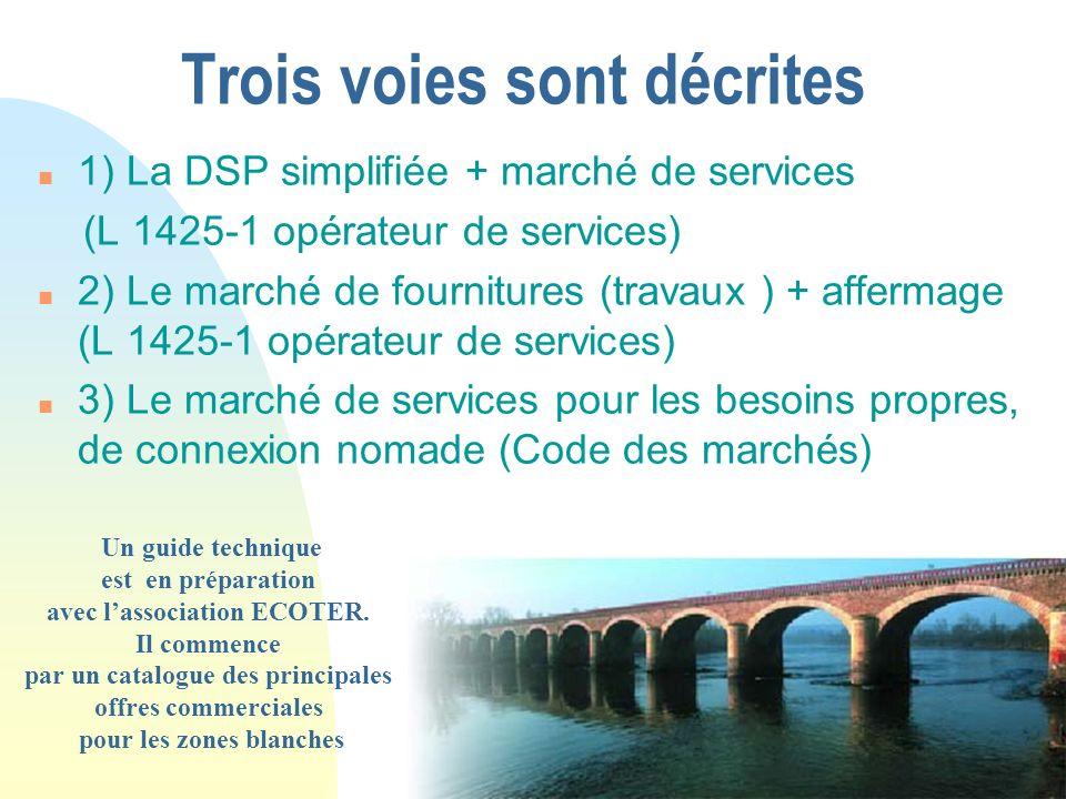 Trois voies sont décrites n 1) La DSP simplifiée + marché de services (L 1425-1 opérateur de services) n 2) Le marché de fournitures (travaux ) + affe
